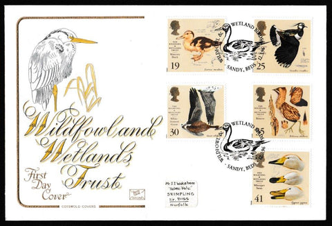 Great Britain First Day Cover, 'The Wildfowl and Wetlands Trust', Cotswold, Wildfowl & Wetland Birds, Sandy, Beds, 12-Mar-1996