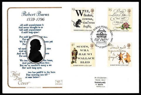 Great Britain First Day Cover, 'Robert Burns', Cotswold, The Burns Federation, Dumfries, 25-Jan-1996