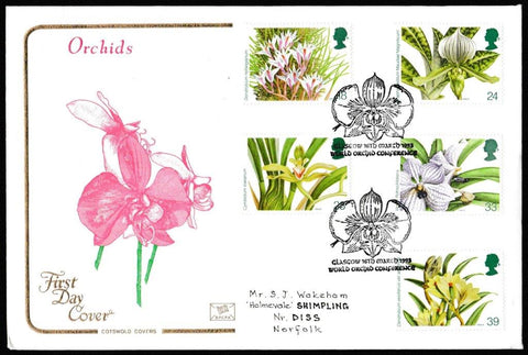 Great Britain First Day Cover, '14th World Orchid Conference', Cotswold, World Orchid Conference, Glasgow, 16-Mar-1993