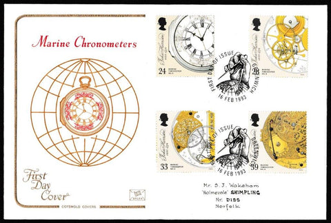 Great Britain First Day Cover, 'Marine Timekeepers', Cotswold, Greenwich, 16-Feb-1993