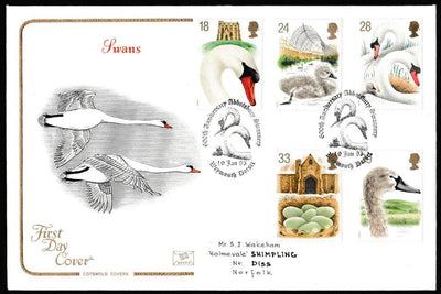 Great Britain First Day Cover, 'Swans', Cotswold, 600th Anniversary Abbotsbury Swannery, Weymouth, Dorset, 19-Jan-1993