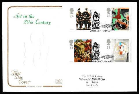 Great Britain First Day Cover, 'Art in the 20th Century', Cotswold, Henry Moore, 20th Century Art, Leeds, 11-May-1993