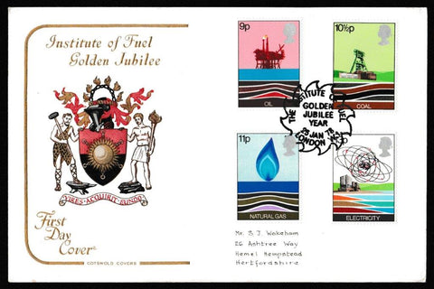 Great Britain First Day Cover, 'Energy Resources', Cotswold, Institute of Fuel, Golden Jubilee Year, London W1, 25-Jan-1978