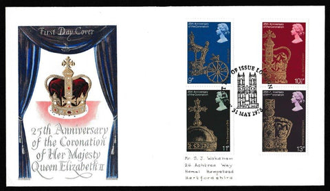Great Britain First Day Cover, '25th Anniversary of the Queen's Coronation', Mercury, London SW1, 31-May-1978