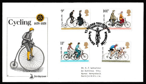 Great Britain First Day Cover, 'Cycling Centenaries', Mercury, TI Raleigh, Tour De France, Nottingham, 02-Aug-1978