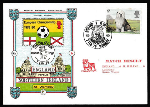 Great Britain First Day Cover, 'British Dogs', Dawn, European Championship, Wembley, 07-Feb-1979