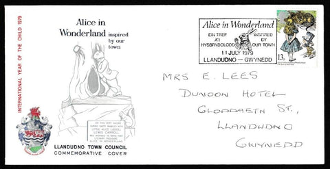 Great Britain First Day Cover, 'International Year of the Child', Official, Alice in Wonderland, Llandudno, 11-Jul-1979