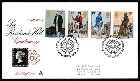 Great Britain First Day Cover, 'Centenary of the Death of Sir Rowland Hill', Mercury, London EC, 22-Aug-1979