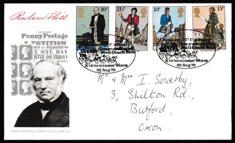 Great Britain First Day Cover, 'Centenary of the Death of Sir Rowland Hill', Royal Mail, Rowland Hill Centenary Coach Run, Kidderminster, Worcs, 22-Aug-1979