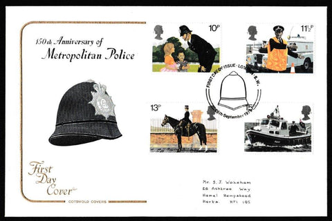 Great Britain First Day Cover, '150th Anniversary Metropolitan Police', Cotswold, London, SW, 26-Sep-1979