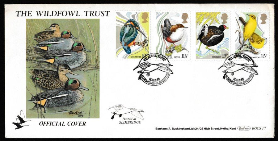 Great Britain First Day Cover, 'British Birds', Benham, Wildfowl Trust, Slimbridge, Gloucester, 16-Jan-1980