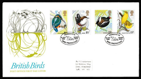 Great Britain First Day Cover, 'British Birds', Royal Mail, Pioneers in Bird Protection, Sandy Beds, 16-Jan-1980