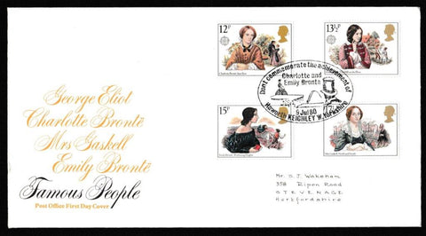 Great Britain First Day Cover, 'Famous Women Novelists', Royal Mail, Dent commemorate the achievement of Charlotte and Emily Bronte, Haworth, 09-Jul-1980