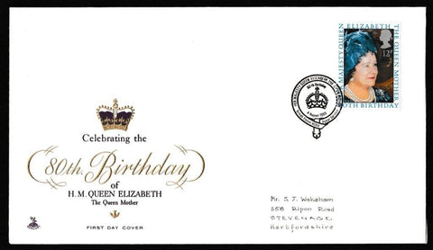 Great Britain First Day Cover, '80th Birthday HM Queen Elizabeth the Queen Mother', Mercury, BFPS 1980, 04-Aug-1980