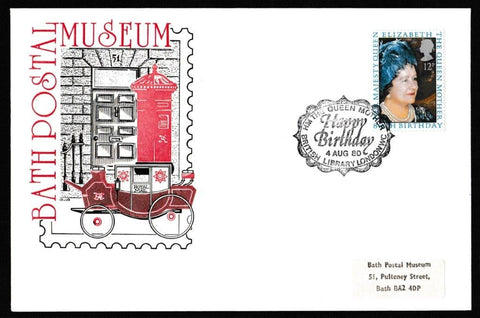 Great Britain First Day Cover, '80th Birthday HM Queen Elizabeth the Queen Mother', Bath Postal Museum, Happy Birthday HM The Queen Mother, British Library, London WC, 04-Aug-1980