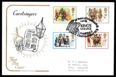 Great Britain First Day Cover, 'Christmas 1978', Cotswold, Kings College, Cambridge, 22-Nov-1978