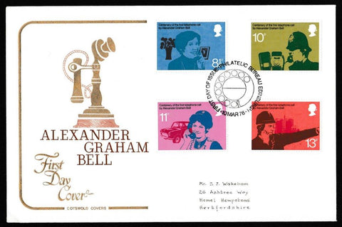 Great Britain First Day Cover, 'Centenary of First Telephone Communication', Cotswold, Philatelic Bureau, Edinburgh, 10-Mar-1976