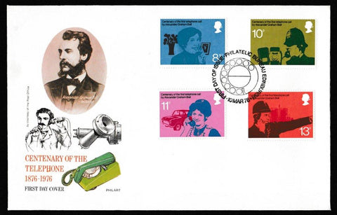 Great Britain First Day Cover, 'Centenary of First Telephone Communication', Philart, Philatelic Bureau, Edinburgh, 10-Mar-1976