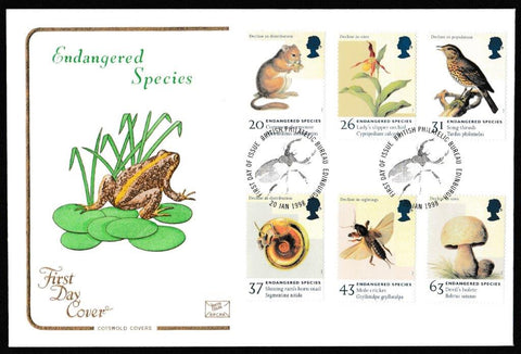 Great Britain First Day Cover, 'Endangered Species', Cotswold, Philatelic Bureau, Edinburgh, 20-Jan-1998