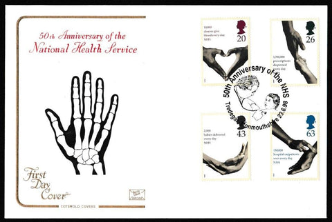 Great Britain First Day Cover, 'National Health Service', Cotswold, 50th Anniversary National Health, Tredegar, 23-Jun-1998