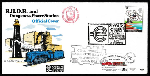 Great Britain First Day Cover, 'Energy Resources', Romney Hythe & Dymchurch Railway, 21 Years of British Nuclear Electricity, Dungeness, 25-Jan-1978
