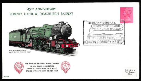 Great Britain Commemorative Cover, '45th Anniversary Romney Hythe & Dymchurch Railway', Romney Hythe & Dymchurch Railway, 45th Anniversary Romney Hythe & Dymchurch Railway, 29-May-1972