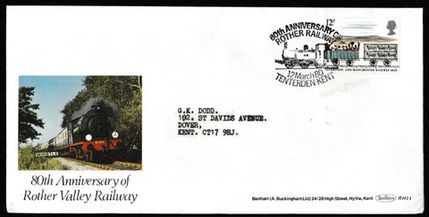 Great Britain First Day Cover, '150th Anniversary Liverpool and Manchester Railway', Rother Valley Railway, 80th Anniversary of Rother Railway, Tenterden, Kent, 12-Mar-1980