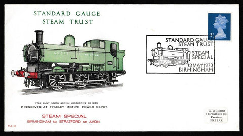 Great Britain Commemorative Cover, 'Standard Gauge Steam Trust Steam Special', Official, Standard Gauge Steam Trust Steam Special, 13-May-1973
