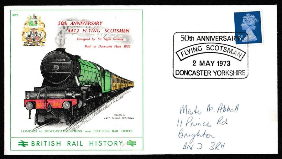 Great Britain Commemorative Cover, '50th Anniversary Flying Scotsman', British Rail, 50th Anniversary Flying Scotsman, Doncaster, Yorkshire, 02-May-1973