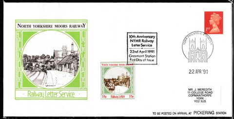 Great Britain Commemorative Cover, 'NYMR 10th Anniv. Railway Letter Service', NYMR, York Philatelic Counter, 22-Apr-1991