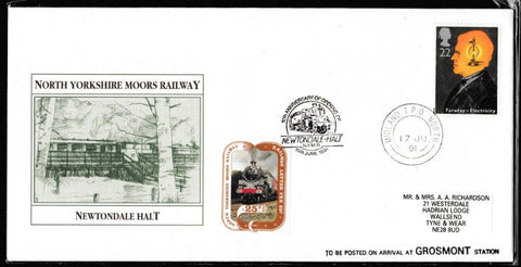 Great Britain Commemorative Cover, 'NYMR Anniv. Of opening Newtondale Holt', NYMR, Midland TPO North, 17-Jun-1991