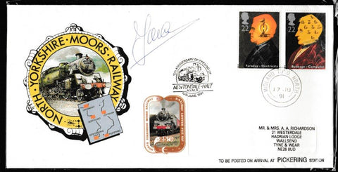 Great Britain Commemorative Cover, 'NYMR Anniv. Of opening Newtondale Holt (SIGNED)', NYMR, Midland TPO North, 17-Jun-1991