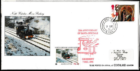 Great Britain Commemorative Cover, 'NYMR 150th Anniv. Of the Santa Specials', NYMR, Whitby, N. Yorks, 07-Dec-1991