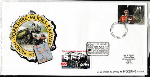 Great Britain First Day Cover, 'NYMR 40th Anniversary of the Queen's Accession', NYMR, York, 06-Feb-1992