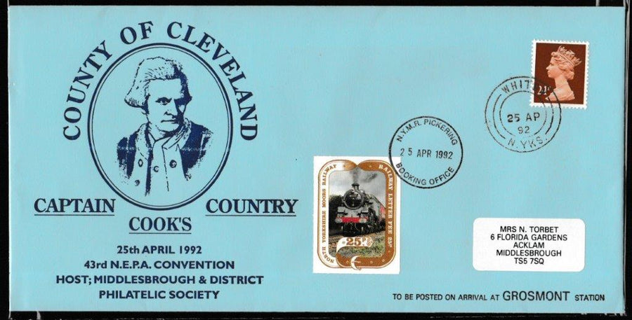 Great Britain Commemorative Cover, 'NYMR 43rd NEPA Convention', NYMR, Whitby, N. Yorks, 25-Apr-1992