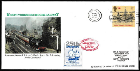Great Britain Commemorative Cover, 'NYMR 25th Anniv. Inaugral Founders Meeting', NYMR, York MLO, 03-Jun-1992