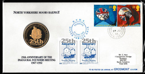 Great Britain Numismatic Cover, 'NYMR 25th Anniv. Inaugral Founders Meeting Coin Cover', NYMR, Whitby, N. Yorks, 27-Jun-1992