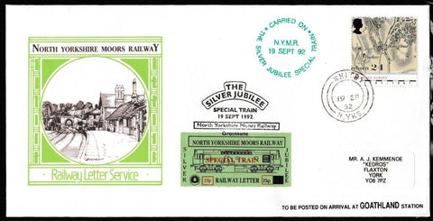 Great Britain Commemorative Cover, 'NYMR Silver Jubilee Special Train', NYMR, Whitby, N. Yorks, 19-Sep-1992
