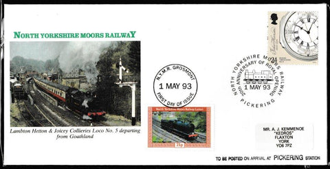 Great Britain Commemorative Cover, 'NYMR 20th Anniv. Royal Opening', NYMR, Pickering, N. Yks, 01-May-1993