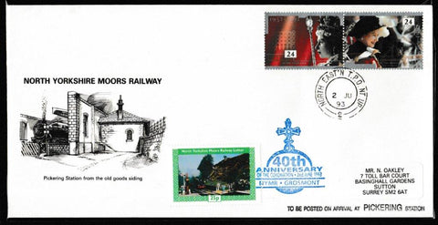 Great Britain Commemorative Cover, 'NYMR 40th Anniversary of the Coronation', NYMR, North East TPO Night Up, 02-Jun-1993