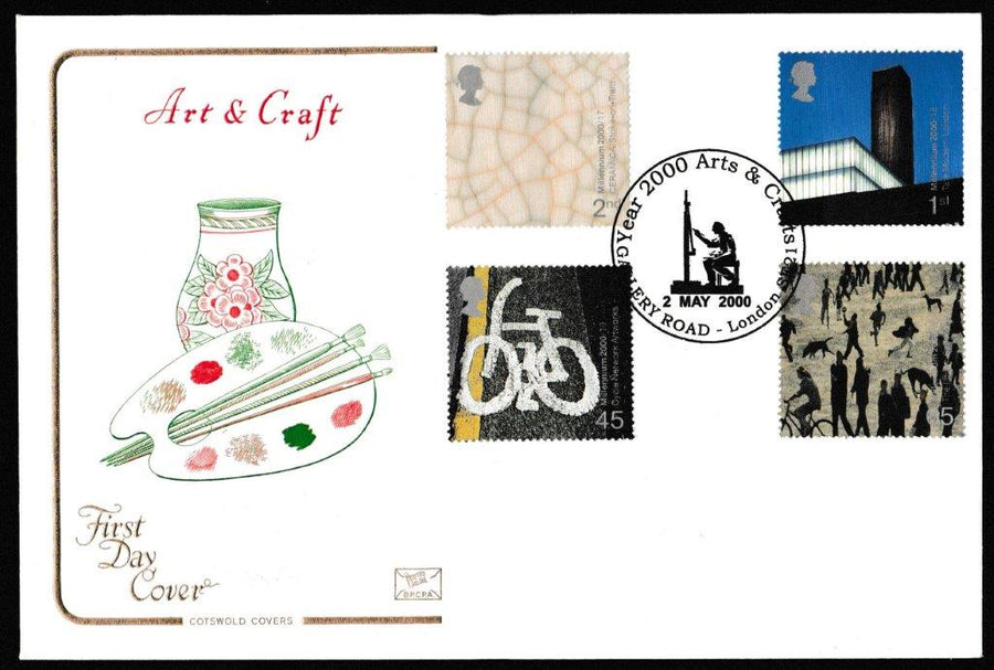 Great Britain First Day Cover, 'Art and Craft', Cotswold, Gallery Road, London, SE21, 02-Feb-2000