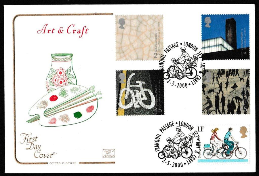 Great Britain First Day Cover, 'Art and Craft', Cotswold, Tranquil Passage, London, SE3, 02-Feb-2000