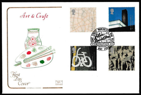 Great Britain First Day Cover, 'Art and Craft', Cotswold, Quay Street, Manchester, 02-Feb-2000
