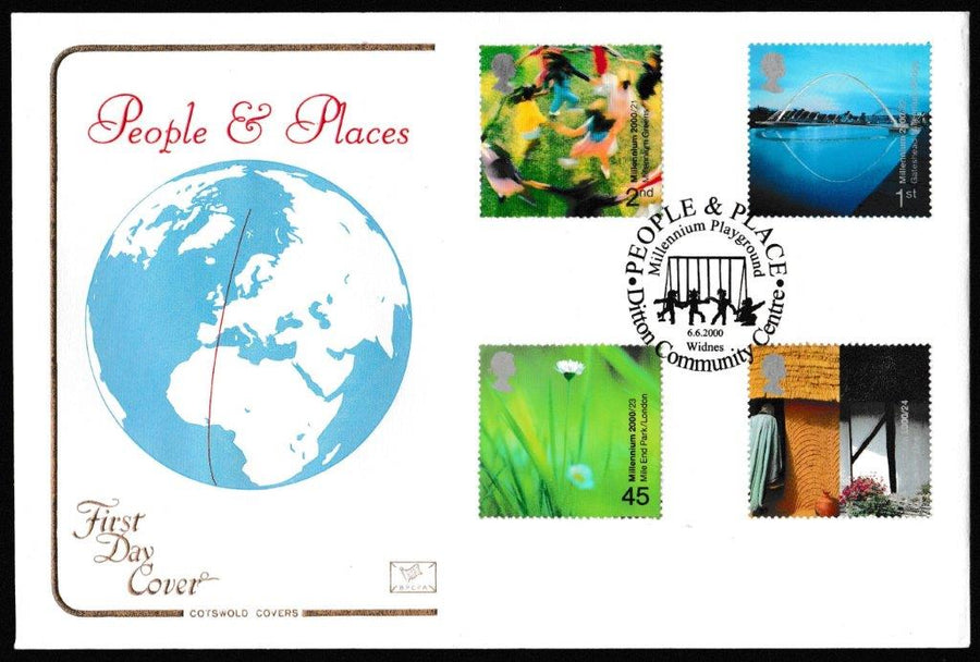 Great Britain First Day Cover, 'People and Place', Cotswold, Millenium Playground, Ditton Community Centre, Widnes, 06-Jun-2000