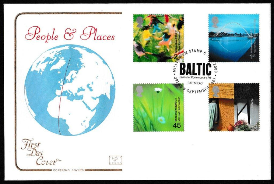 Great Britain First Day Cover, 'People and Place', Cotswold, Baltic Centre for Contemporary Art, Gateshead, 06-Jun-2000