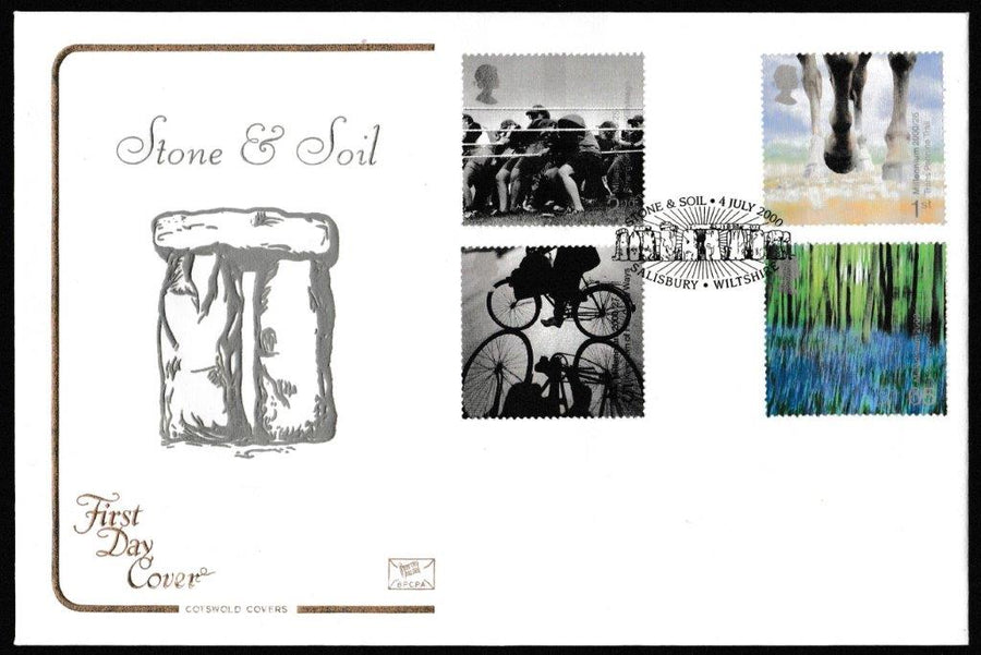 Great Britain First Day Cover, 'Stone and Soil', Cotswold, Salisbury, Wiltshire, 04-Jul-2000