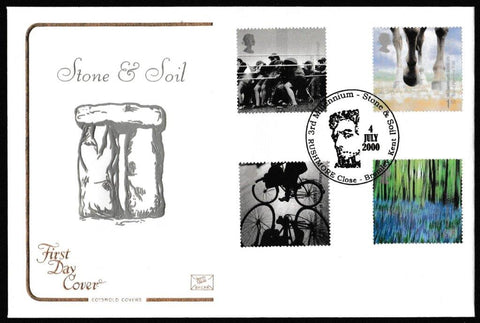 Great Britain First Day Cover, 'Stone and Soil', Cotswold, Rushmore Place, Bromley, Kent, 04-Jul-2000