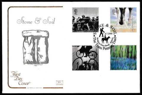 Great Britain First Day Cover, 'Stone and Soil', Cotswold, The Trans Pennine Trail, Widnes, 04-Jul-2000