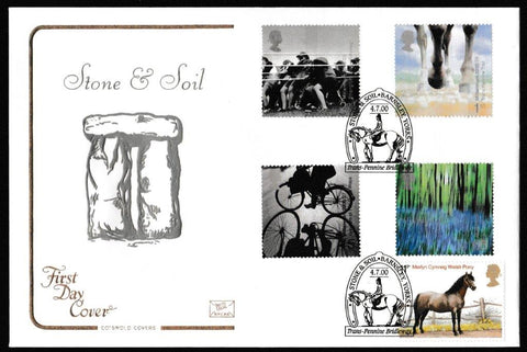 Great Britain First Day Cover, 'Stone and Soil', Cotswold, Trans Pennine Bridleway, Barnsley, Yorks, 04-Jul-2000