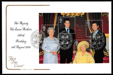 Great Britain First Day Cover - Mini Sheet, 'Queen Elizabeth the Queen Mothers 100th Birthday - Mini Sheet', Cotswold, Lord Warden of the Cinque Ports, Hastings, E. Sussex, 04-Aug-2000